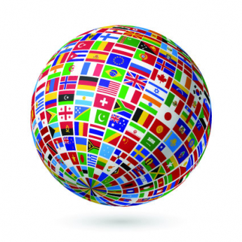 A globe with international flags